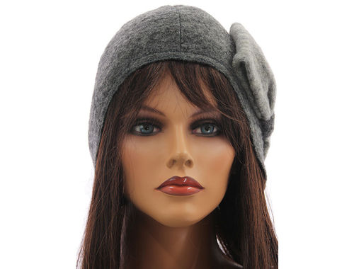 Boho lagenlook hat cap with bow boiled wool in grey shades M-XL