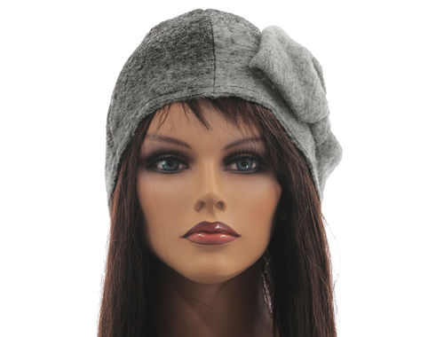Boho lagenlook hat cap with bow boiled wool in grey M-XL