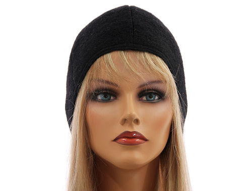 Simply boho lagenlook hat cap, boiled wool in black S-L