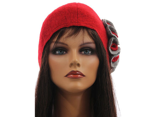 Boho lagenlook hat cap with flower, boiled wool in red grey M-XL