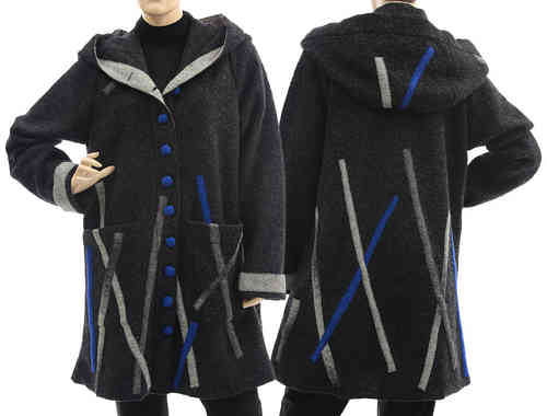 Boho lagenlook hooded coat jacket, boiled wool anthracite M-L