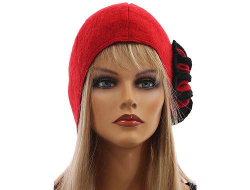 Boho lagenlook hat cap with flower, boiled wool in red black M-XXL