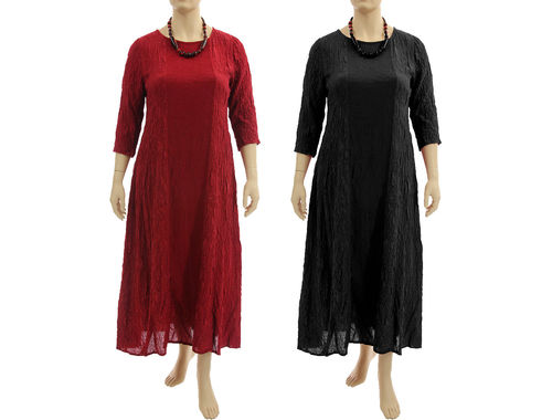 Stylish evening maxi silk dress in dark red or black L-XL