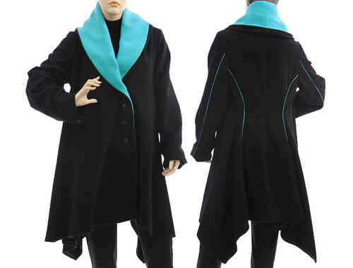 Handmade boho artsy flared coat, wool in black turquoise S-M