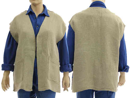 Handmade lagenlook vest, wrap natural eco linen No 9 - L-XXL