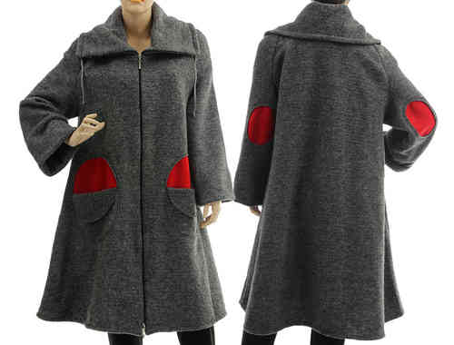 Boho flared coat with collar - boiled wool in grey with red S-L
