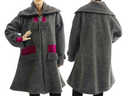 Boho flared coat with collar - boiled wool in grey magenta L-XL