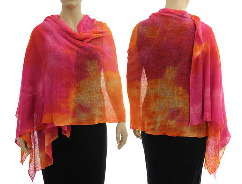 Lagenlook knit linen shawl wrap cape in pink orange S-XL