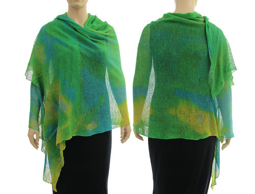 Lagenlook knit linen shawl wrap cape in green blue yellow S-XL