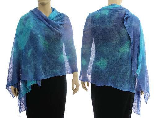 Lagenlook knit linen shawl wrap cape in blue shades S-XL