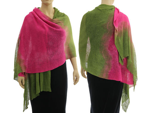 Lagenlook knit linen shawl wrap cape in pink green S-XL
