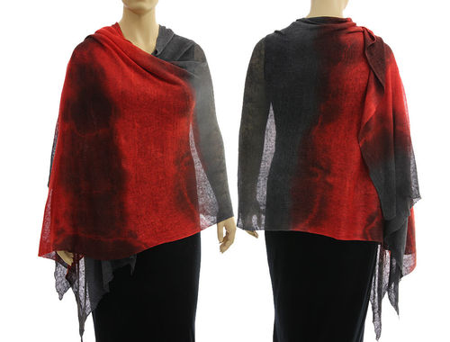 Lagenlook knit linen shawl wrap cape in red grey S-XL