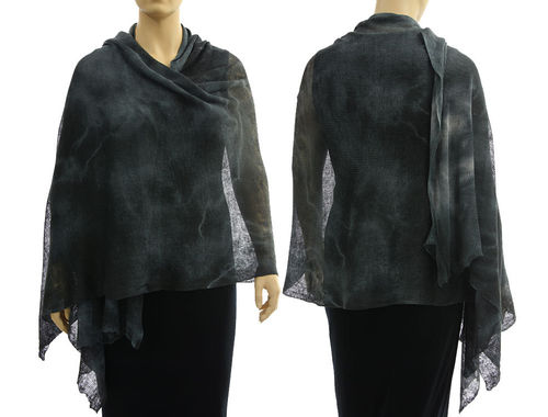 Lagenlook knit linen shawl wrap cape in black grey S-XL
