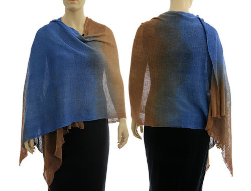 Lagenlook knit linen shawl wrap cape in blue cinnamon S-XL