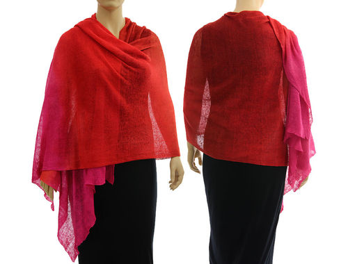 Lagenlook knit linen shawl wrap cape in red pink S-XL