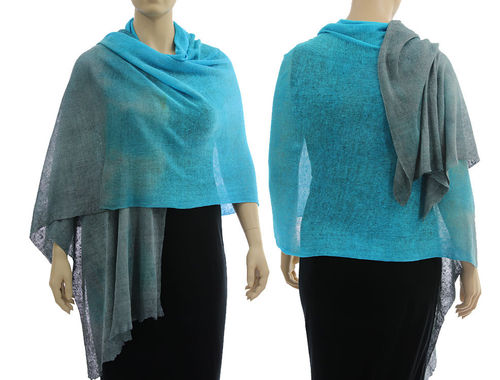 Lagenlook knit linen shawl wrap cape in blue grey S-XL
