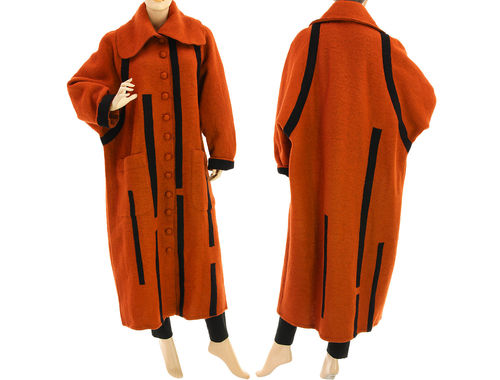 Lagenlook maxi coat with stripes boiled wool in rust black XL-XXL