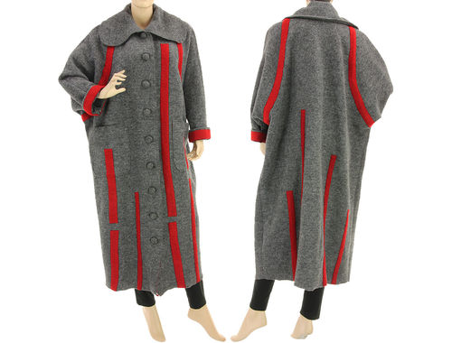 Lagenlook maxi coat with stripes boiled wool in grey red XL-XXL