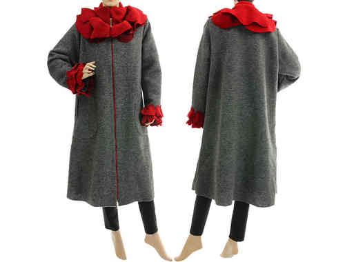 Boho artsy coat with rose collar, boiled wool in grey with red L-XL
