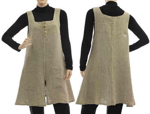 Lagenlook pinafore dress / tunic with pockets, linen in natural S-M