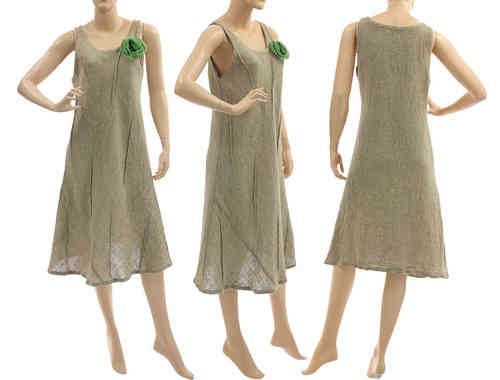 Flared pinafore dress with green flower, linen in natural S-M