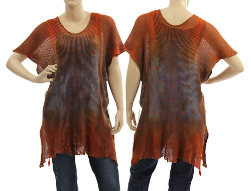 Lagenlook knit linen sweater tunic top in rust purple blue S-L