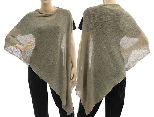 Lagenlook knit linen poncho wrap top in dark nature S-XL