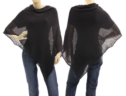 Lagenlook knit linen poncho wrap top cover in dark aubergine S-L