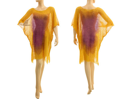 Linen knitted dress tunic, hand dyed in yellow purple S-XL