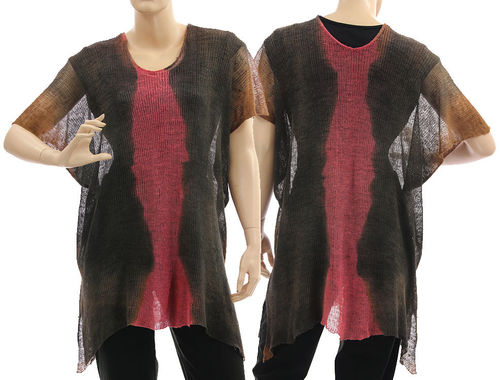 Lagenlook knit linen sweater tunic top, brown pink S-L
