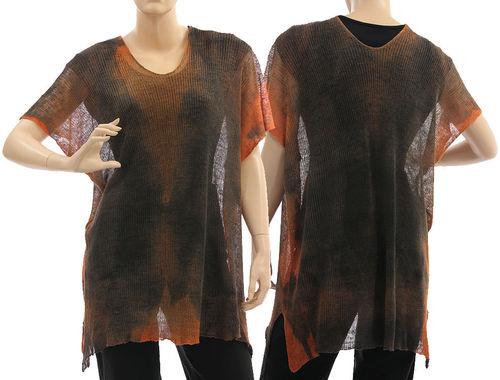 Lagenlook knit linen sweater tunic top, dark brown rust S-L