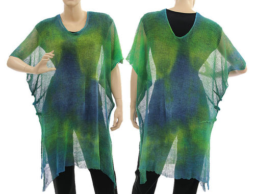 Lagenlook knit linen sweater tunic top, blue green yellow M-XL