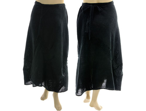 Long boho wrap skirt, bulgy and asymmetric, linen in black M-XL
