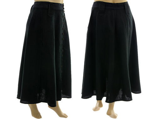 Maxi wide flared skirt, button-through front, linen in black XL