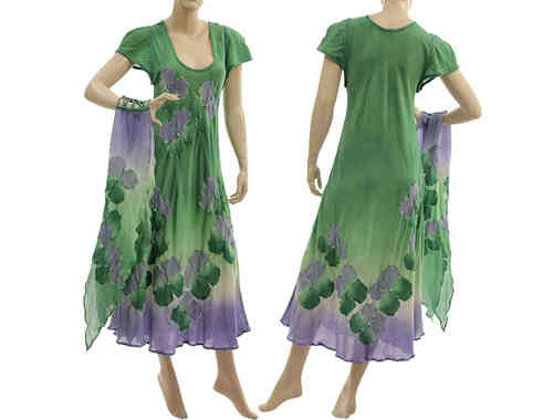 Handmade artsy boho dress with scarf, crinkle cotton in green purple S-M