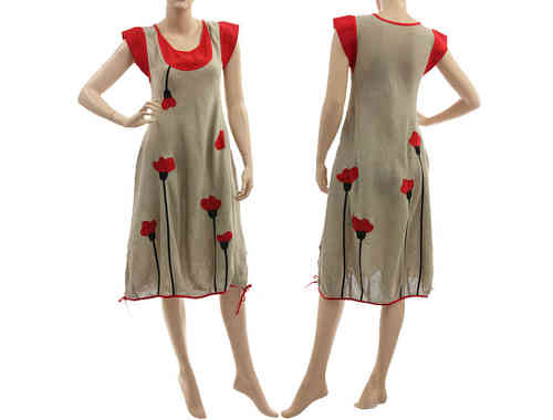 Lovely artsy boho linen dress with poppy flowers in natural red S
