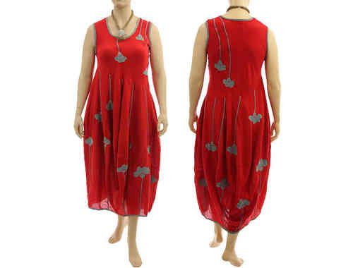 Fab artsy boho balloon dress with flowers crinkle cotton in red grey M-L