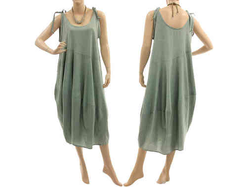 Lovely lagenlook tie strap balloon dress, cotton in pastel green M
