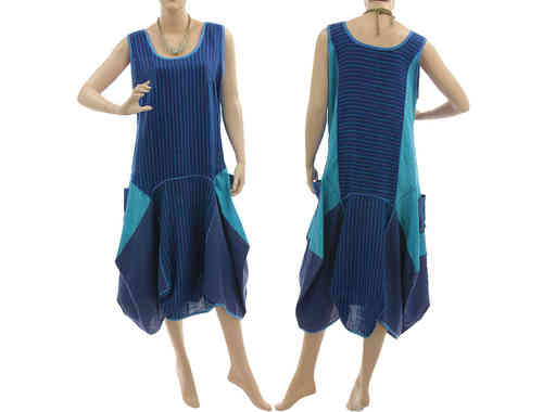 Lagenlook bulgy balloon parachute linen dress in blue teal S-M