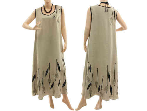 Lagenlook linen artsy boho maxi dress with tulips in nature black M-L