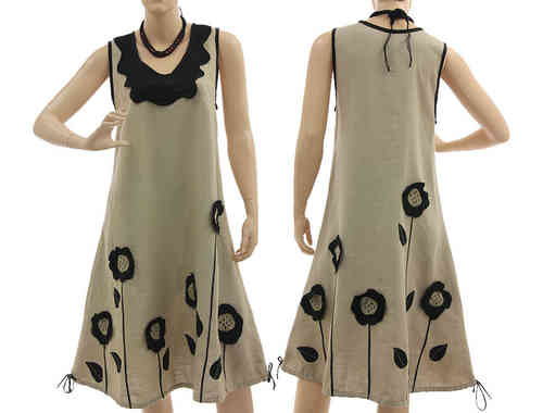 Fab linen dress with sunflowers in 2 ways to wear, nature black S-M