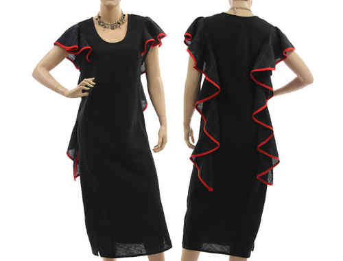 Stunning linen party cocktail dress with flounces in black red S-M