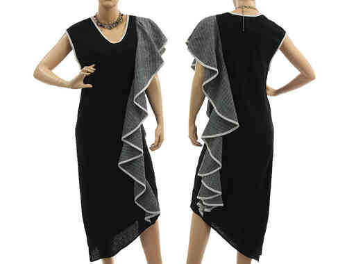Stunning linen party cocktail dress with a flounce in black grey S-M
