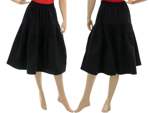 Boho knee-length wide swinging tiered skirt, canvas black S-M