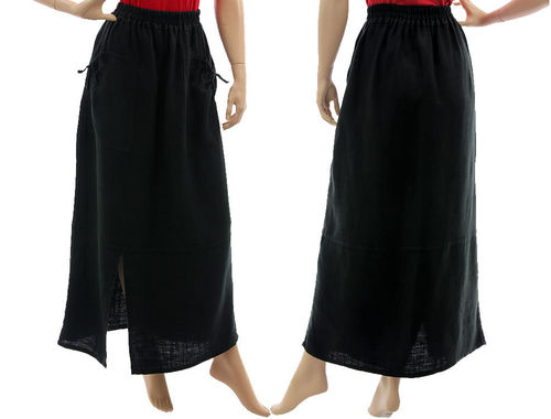Lagenlook long boho skirt with pockets, linen in black L-XL