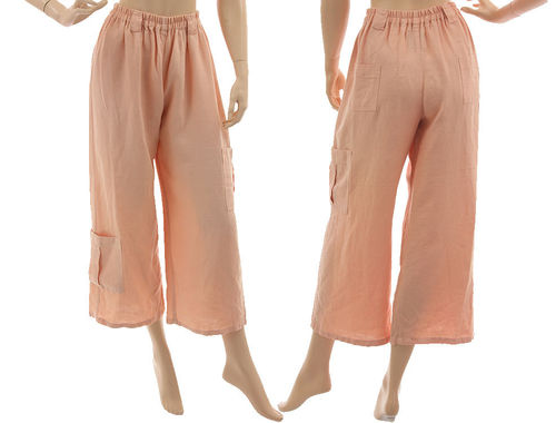 Lagenlook 7/8 wide legs pants, linen in powder S-M