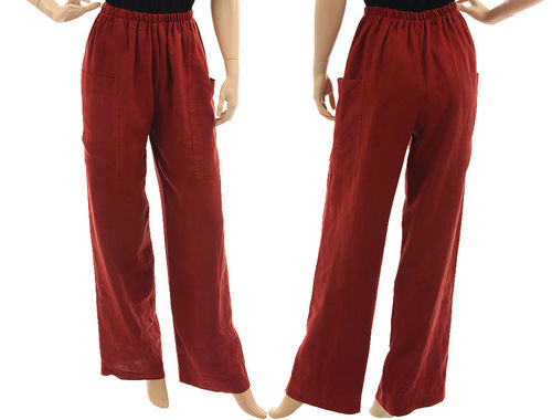 Long wide legs pants for tall women, linen in rust-red S-M