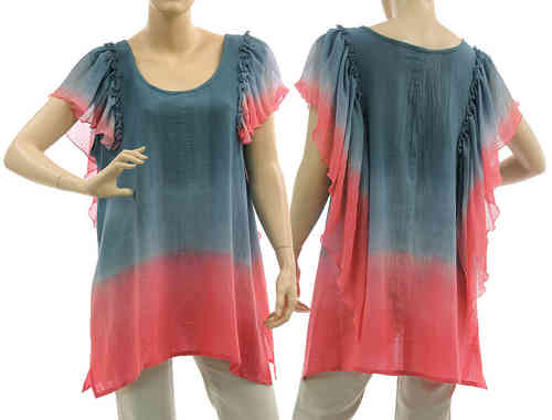 Artsy boho flared tunic with ruffles in blue pink M-L