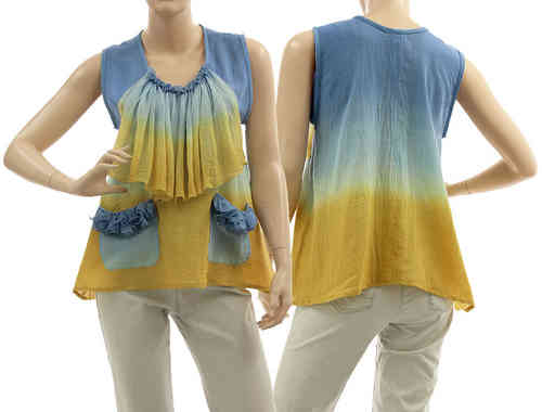 Artsy boho flared tunic with ruffle, frilled pockets in blue yellow S-M