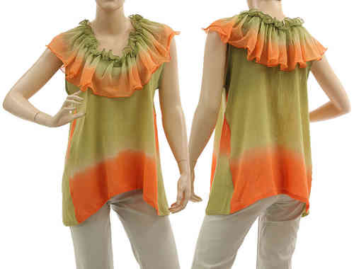 Artsy boho flared tunic with ruffle in green orange S-M